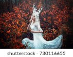 beautiful mystery gothic woman... | Shutterstock . vector #730116655
