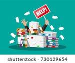 stressed cartoon businessman in ...   Shutterstock .eps vector #730129654