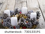 Advent Wreath Candles On Rusti...