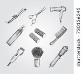 hand drawn barber shop sketches ... | Shutterstock .eps vector #730136245