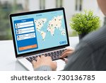 man holding computer with... | Shutterstock . vector #730136785