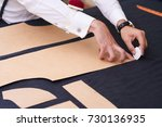 closeup of tailors table with... | Shutterstock . vector #730136935