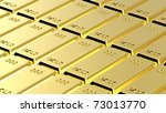 Gold ingots background. Computer generated 3D photo rendering. - stock photo