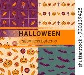 set of seamless halloween...   Shutterstock .eps vector #730139425