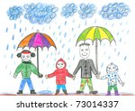 child's drawing happy family...   Shutterstock . vector #73014337