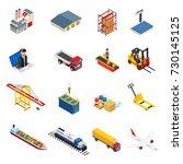 global logistics isometric... | Shutterstock .eps vector #730145125