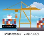 vector of a big yellow port... | Shutterstock .eps vector #730146271
