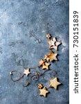 homemade shortbread star shape...   Shutterstock . vector #730151839