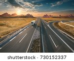 single delivery truck driving...   Shutterstock . vector #730152337