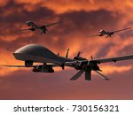 Three military surveillance drones armed with hellfire missiles. Orange sky background. 3d render. - stock photo