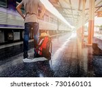 traveler with backpack in train ... | Shutterstock . vector #730160101