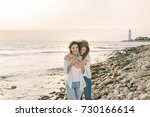mom and her teenage daughter... | Shutterstock . vector #730166614