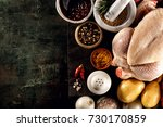 top view of black table surface ... | Shutterstock . vector #730170859