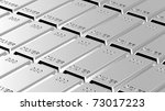 Silver ingots background. Computer generated 3D photo rendering. - stock photo