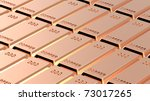 Copper ingots background. Computer generated 3D photo rendering. - stock photo