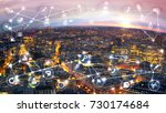 city of london at sunset and... | Shutterstock . vector #730174684