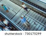 people on stairs and moving... | Shutterstock . vector #730175299