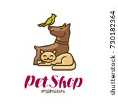 pet shop label or logo. animals ... | Shutterstock .eps vector #730182364