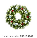 christmas wreath in snow with... | Shutterstock .eps vector #730185949