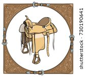 cowboy western saddle in the... | Shutterstock .eps vector #730190641