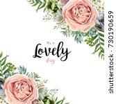 vector floral card frame... | Shutterstock .eps vector #730190659