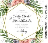 wedding invitation  floral... | Shutterstock .eps vector #730191631