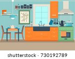 modern cozy kitchen interior... | Shutterstock .eps vector #730192789