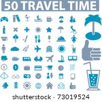 50 travel time icons  vector