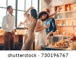group of friends party together ... | Shutterstock . vector #730196767