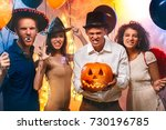 group of friends party together ... | Shutterstock . vector #730196785