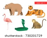 zoo animal vector icon logo set ... | Shutterstock .eps vector #730201729