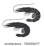 shrimp silhouette. isolated... | Shutterstock .eps vector #730205677