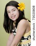 preteen model posing yellow flower hair stock photo edit now rh shutterstock com