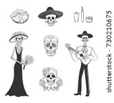 Stock vector vector set of graphics day of the dead hand drawings on a white background katrina sugar 730210675