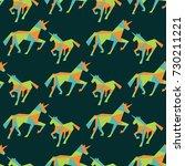 unicorn seamless pattern.... | Shutterstock .eps vector #730211221