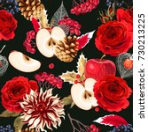 seamless pattern with roses and ... | Shutterstock .eps vector #730213225