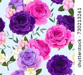 seamless pattern with roses and ... | Shutterstock .eps vector #730213261