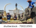 elephants and people at the... | Shutterstock . vector #730213501