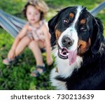 cute little girl with her... | Shutterstock . vector #730213639