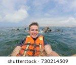 sea lion swim selfie in lima... | Shutterstock . vector #730214509