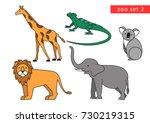 zoo animals vector logo icon... | Shutterstock .eps vector #730219315