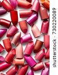 background of broken lipsticks   Shutterstock . vector #730220089