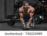 muscular man working out in gym ... | Shutterstock . vector #730223989