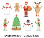 set of santa claus  elf kids ... | Shutterstock .eps vector #730225501