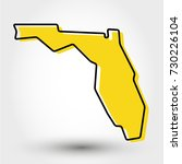 yellow outline map of florida ... | Shutterstock .eps vector #730226104