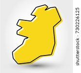 yellow outline map of ireland ... | Shutterstock .eps vector #730226125