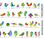 cartoon colorful flock of funny ... | Shutterstock .eps vector #730228039