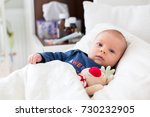 cute newborn baby boy  lying in ... | Shutterstock . vector #730232905