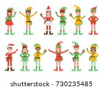 set of diverse boys and girls... | Shutterstock .eps vector #730235485
