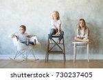 funny children relaxing at home ... | Shutterstock . vector #730237405